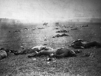 Dead soldiers after the Battle of Gettysburg