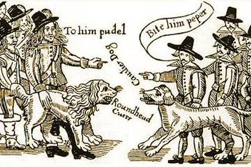 Cavaliers and Roundheads face off in a woodcut of the English Civil War.