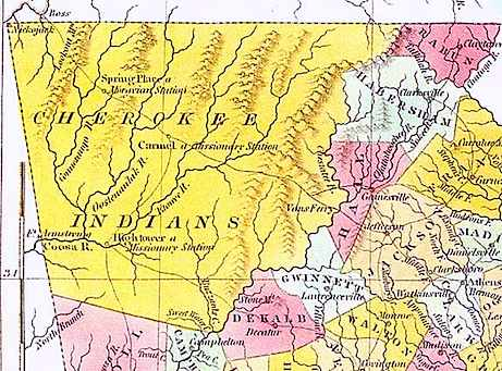 Cherokee land remaining in Georgia (c. 1820).