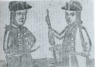 Wooden engraving of Daniel Shays and Job Shattuck, leaders of the rebellion
