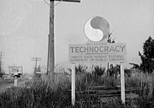 A technocracy sign at the edge of town during the Great Depression.